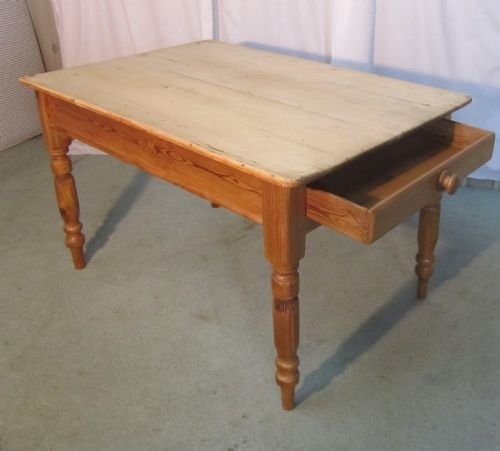 a traditional victorian scrub top pine kitchen table - photo angle #2