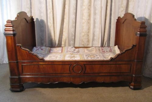 French walnut and ebony sleigh bed or empire style day bed for Empire style bed