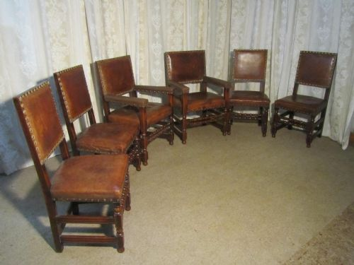 set of 6 heavy gothic oak and leather dining chairs - Set Of 6 Heavy Gothic Oak And Leather Dining Chairs 184703