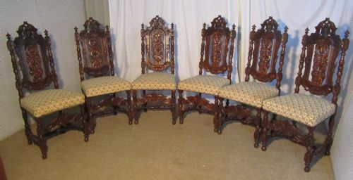 A Set Of 6 Victorian Gothic Oak Dining Chairs In The Jacobean Style