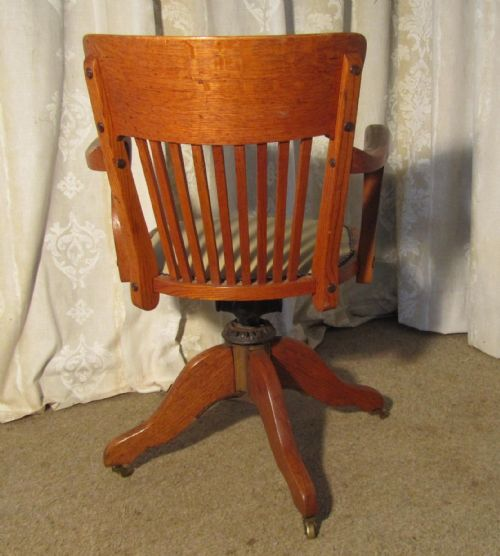 Edwardian Arts And Crafts Swivel Desk Chair Oak Office Chair 213478 Selli