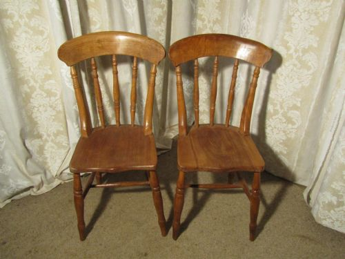 A Pair Of Beech & Elm Country Kitchen Dining Chairs ...