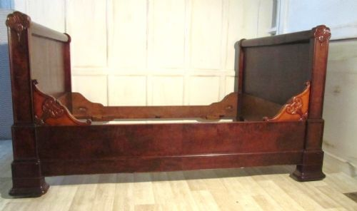 French mahogany and walnut sleigh bed or empire style for Empire style bed
