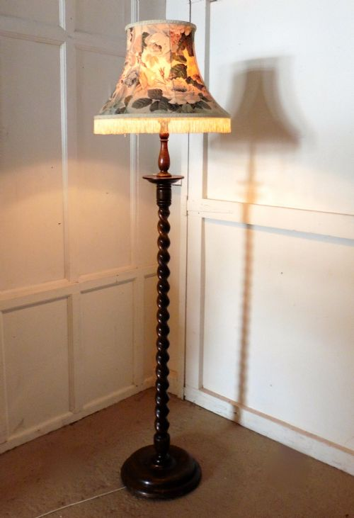 Oak Barley Twist Floor Standing Standard Lamp 385958 Sellingantiques Co Uk