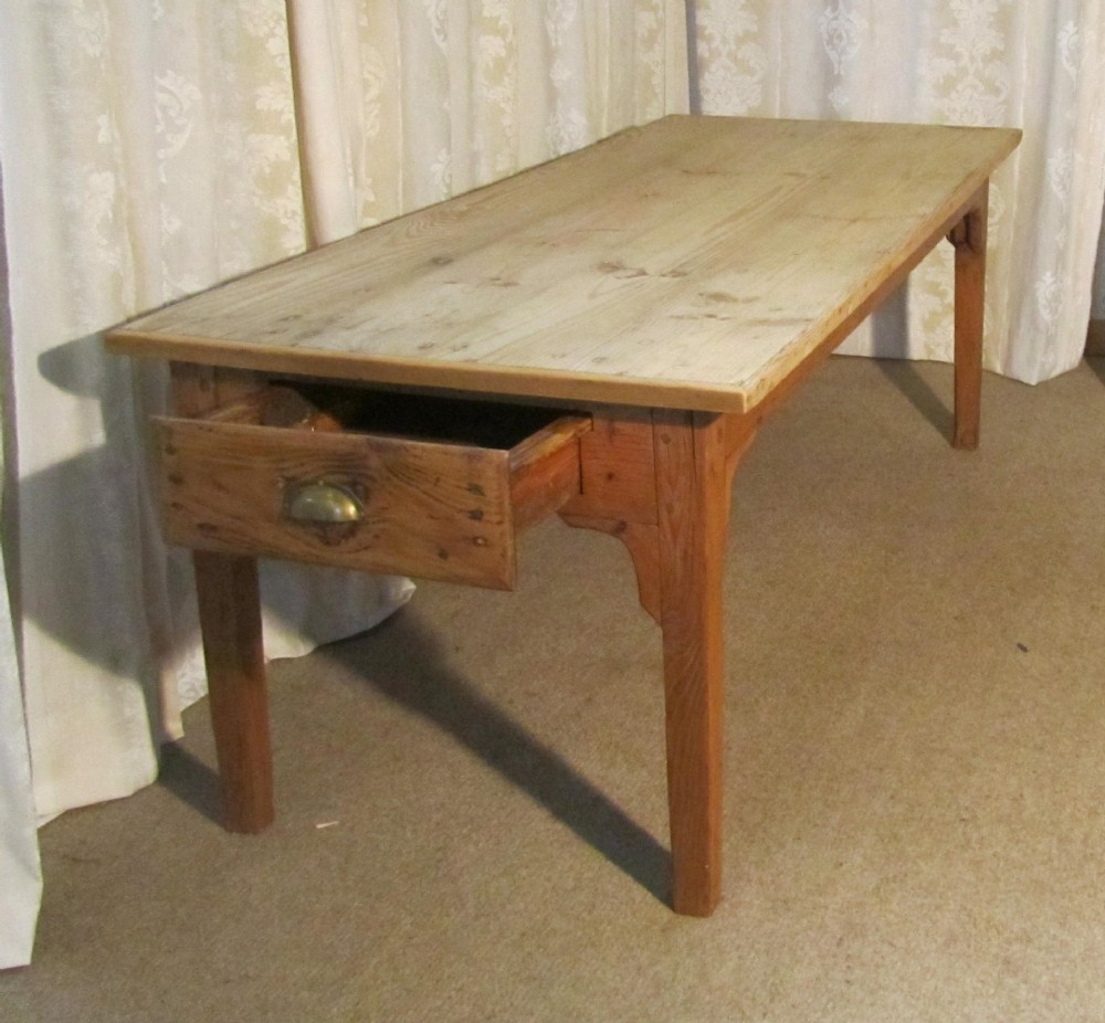 Medium image of a large french pine scrub top farmhouse kitchen table