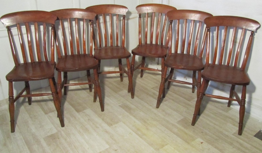 set of 6 victorian slat back farmhouse kitchen chairs 253927