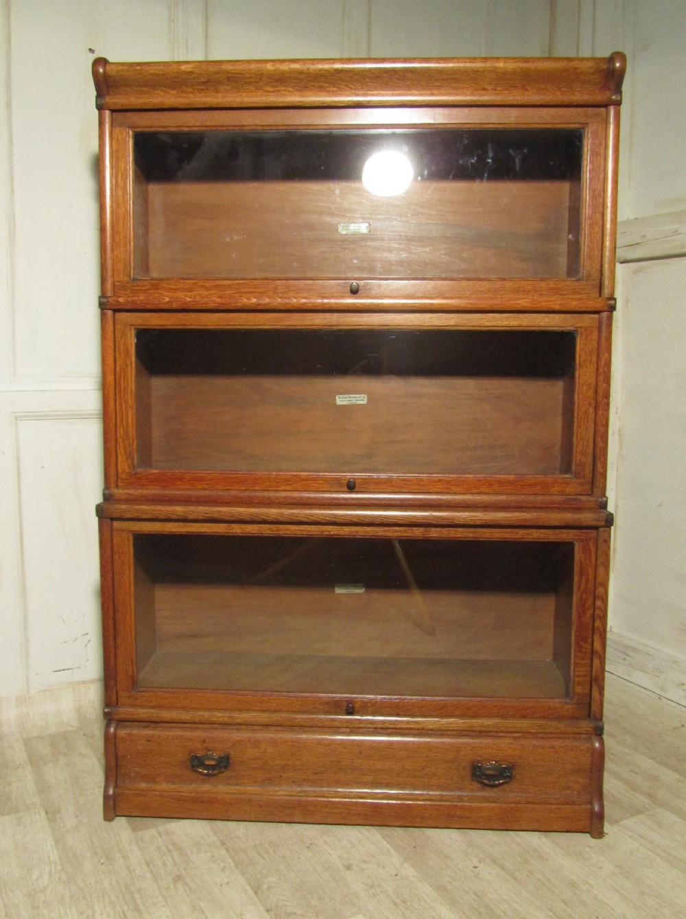 Genial 3 Stack Oak Globe Wernicke Barristers Bookcase Or Filing Cabinet