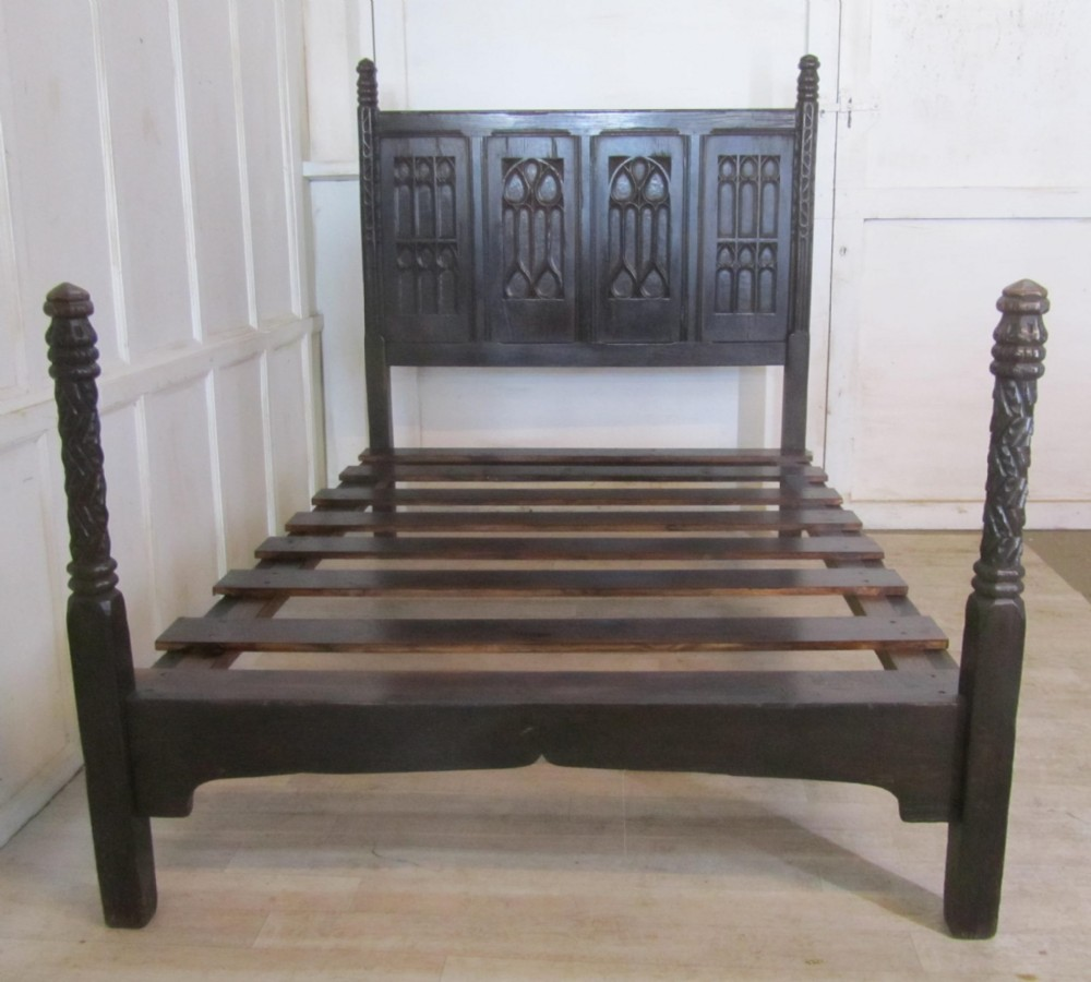 A Superb Gothic Carved Oak Double Bed