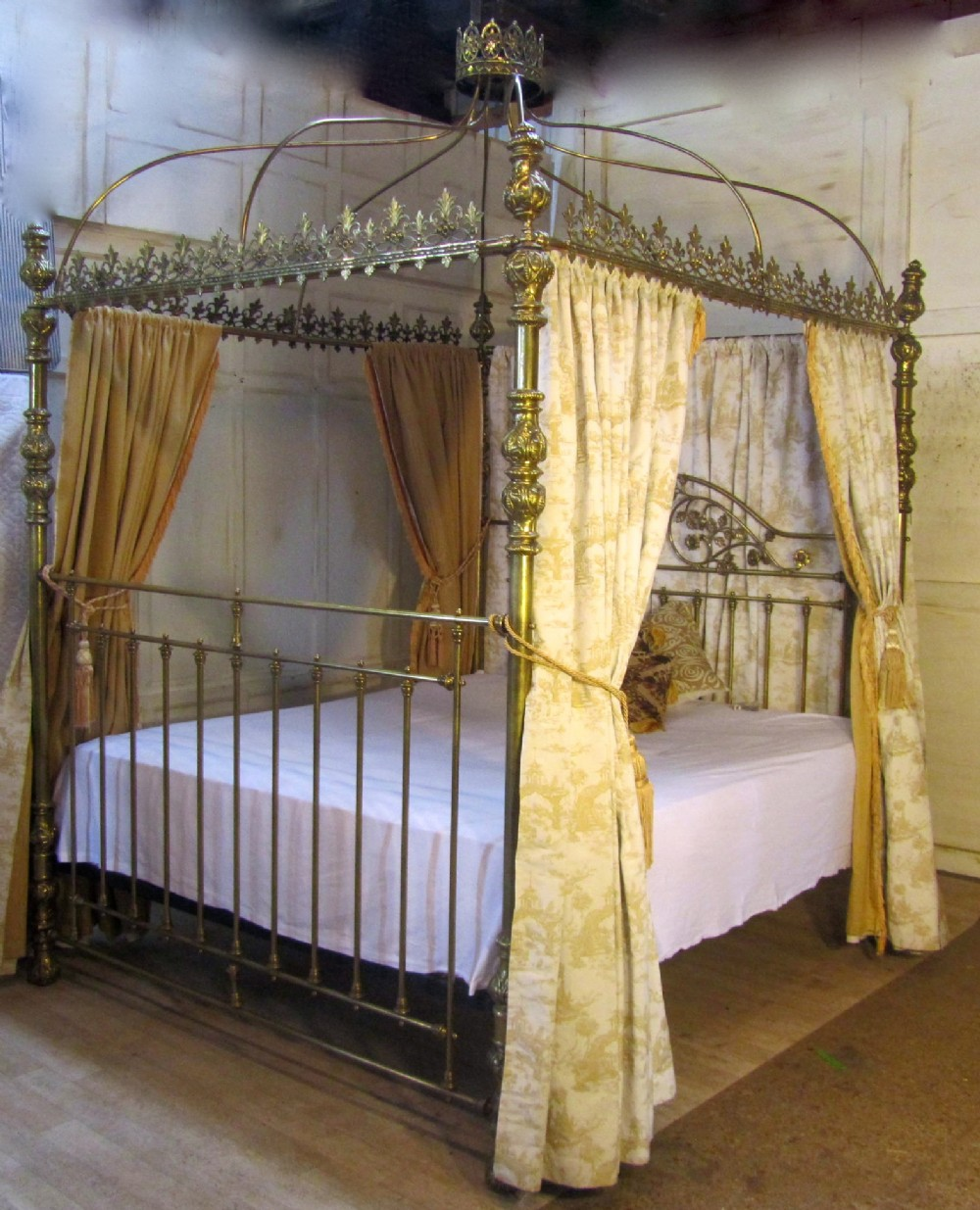 Antique Bed: Victorian Brass Four Poster Super Kingsize 6ft Double Bed