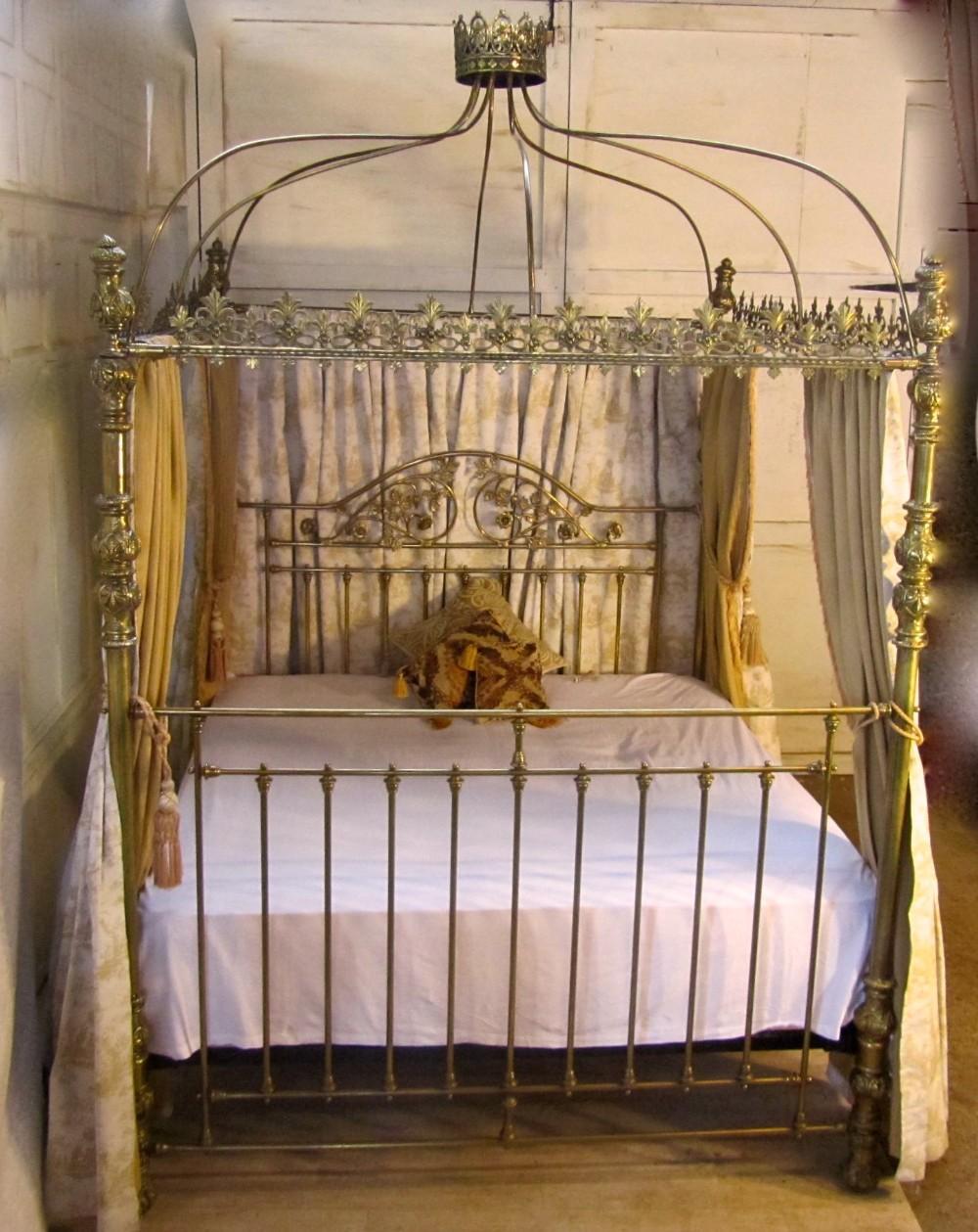 Victorian Brass Four Poster Super Kingsize 6ft Double Bed 281288 Sellingantiques Co Uk