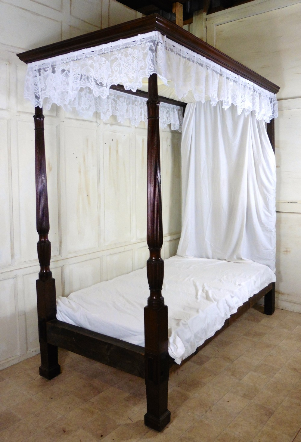 Charming Victorian Single Mahogany Four Poster Bed 304755