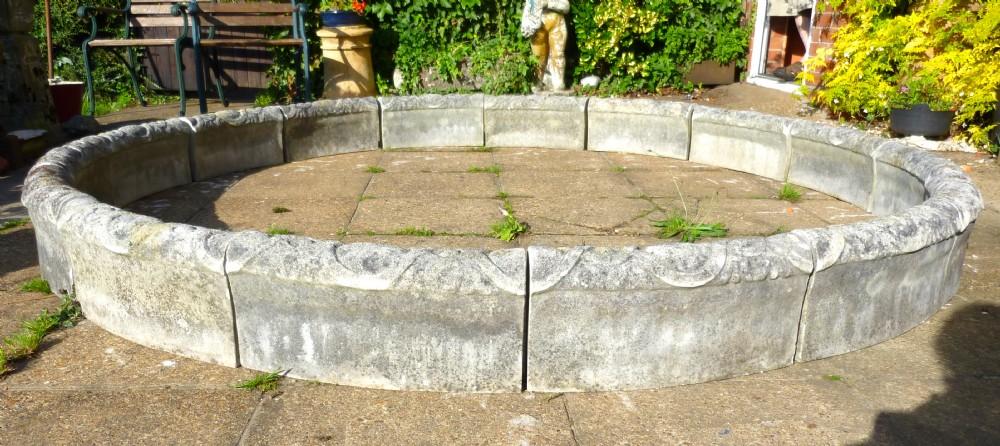 Stone edging setts circular fountain parterre herb for Garden pond edging stones