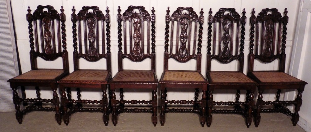 A Good Set Of 6 Victorian Gothic Jacobean Style Oak Dining Chairs