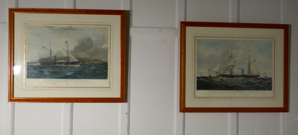 a pair of large framed coloured prints of steam frigates