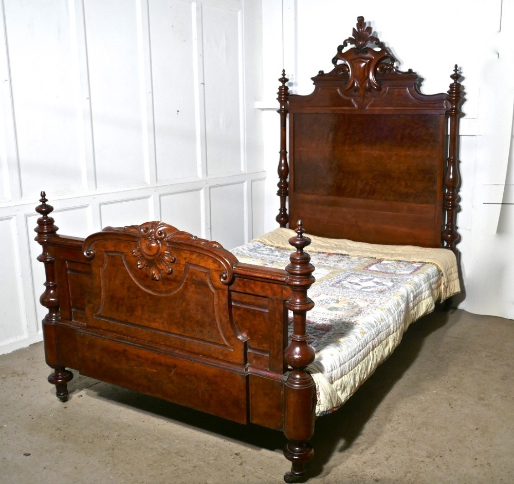 Large single burr walnut chateau bed made in the channel for Chateau beds