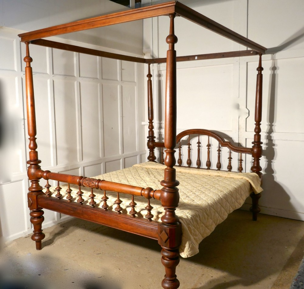 Colonial Raj Four Poster 6ft Bed Anglo Indian Carved 4
