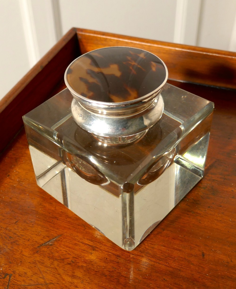 large art deco glass and silver ink well by asprey london