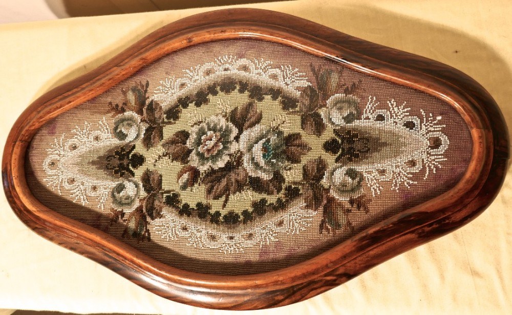 a victorian beadwork walnut shaped oval walnut frame centrepiece tray