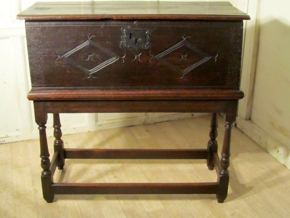 17th carved oak bible box chest on stand