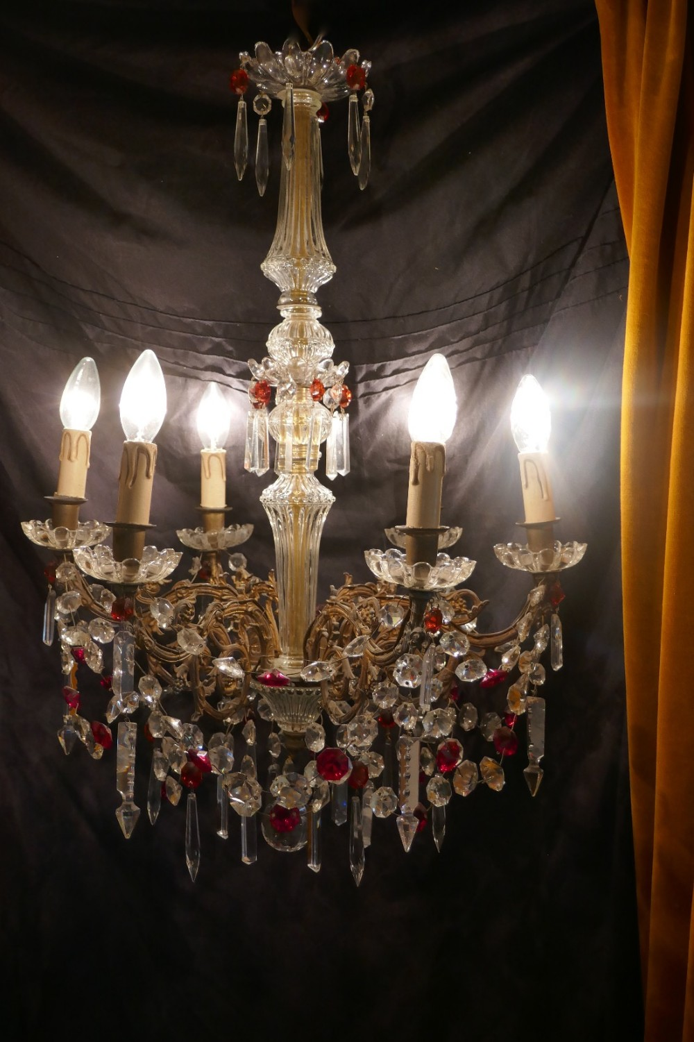 a charming french crystal 6 branch brass chandelier