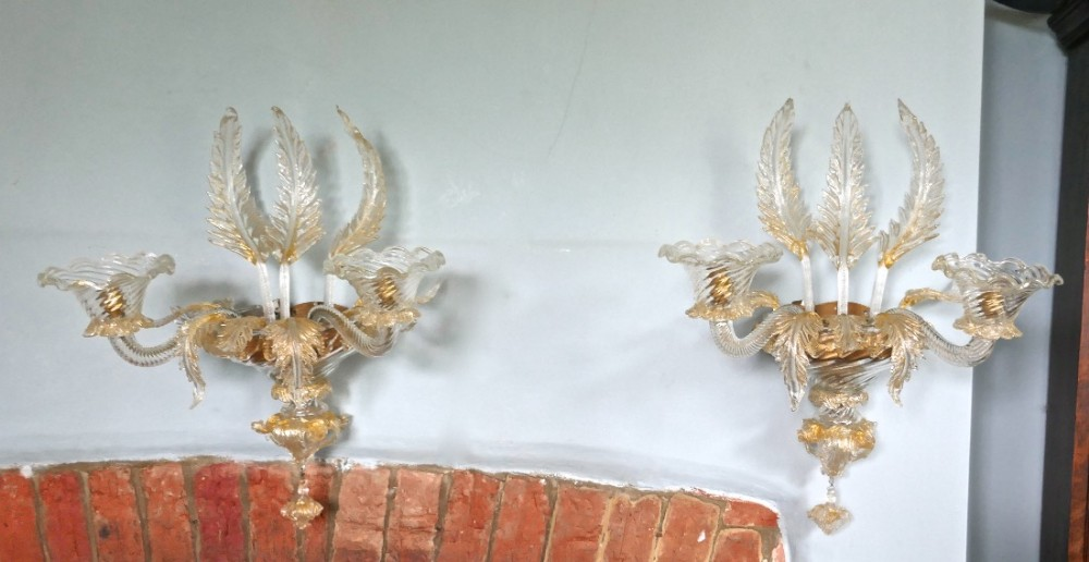 pair of superb venetian glass and gilt chandelier wall lights