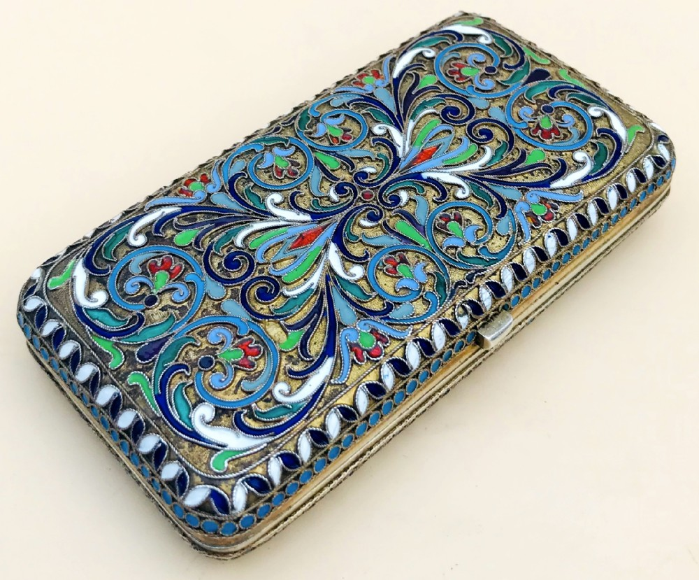 early 20th century russian solid silver cloisonn enamel purse or card case