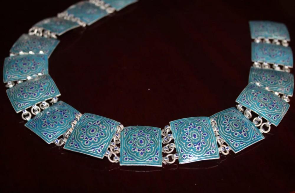 art deco russian silver enamel belt