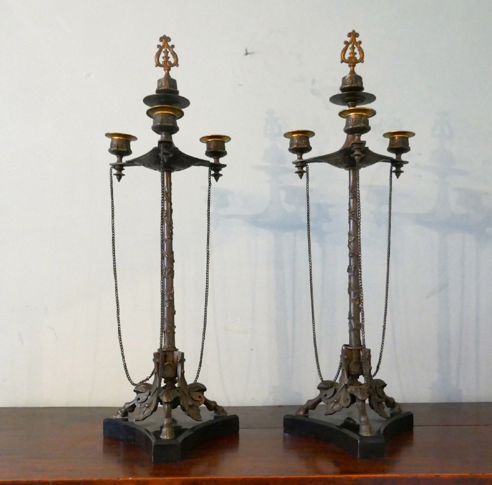 pair 19th century louis philippe french bronze candelabra with snuffers