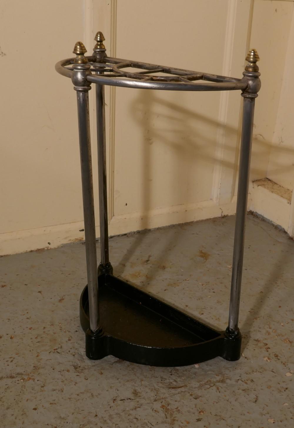 victorian half round steel iron stick stand or umbrella stand