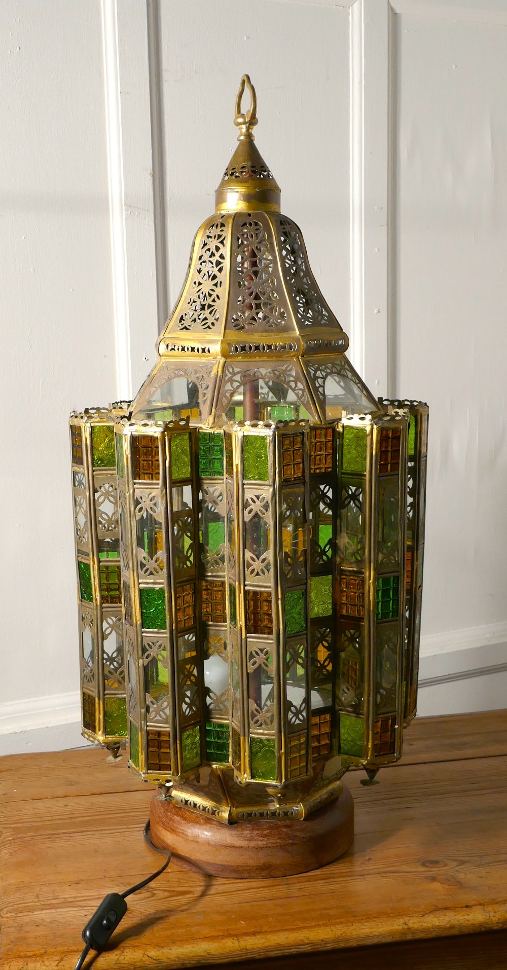 tall north african stained glass and brass table lantern