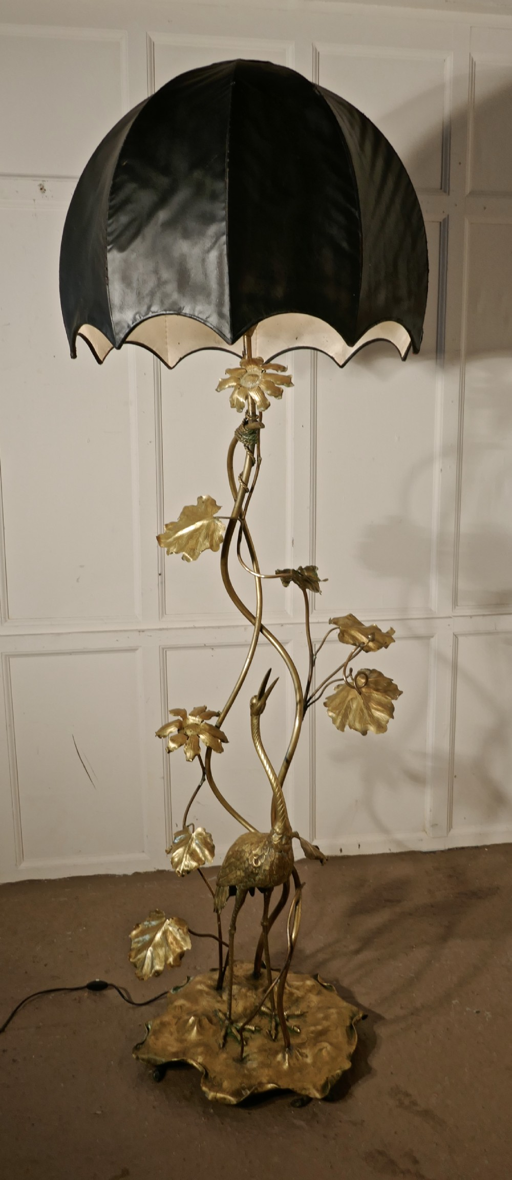 very rare french art nouveau brass floor lamp with heron and water lilies