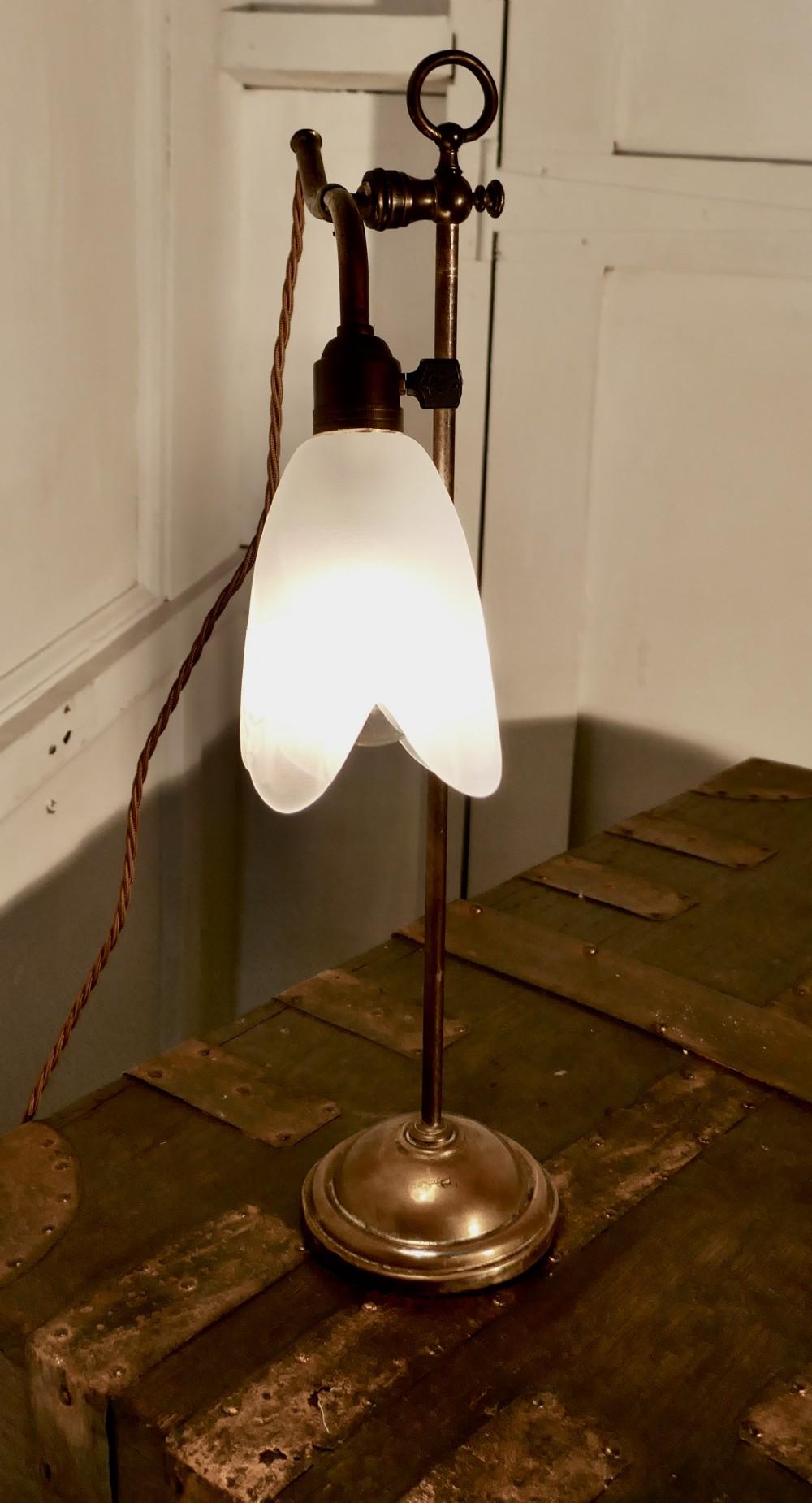 victorian brass desk lamp with opaline glass shade