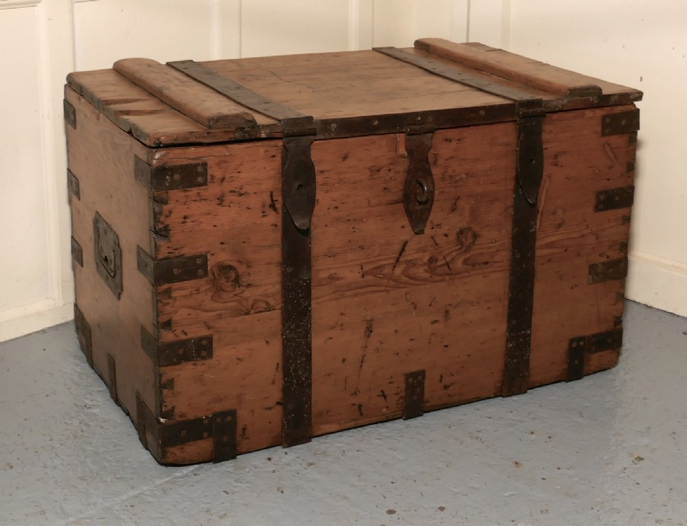 a large victorian pine and iron bound sea or silver chest