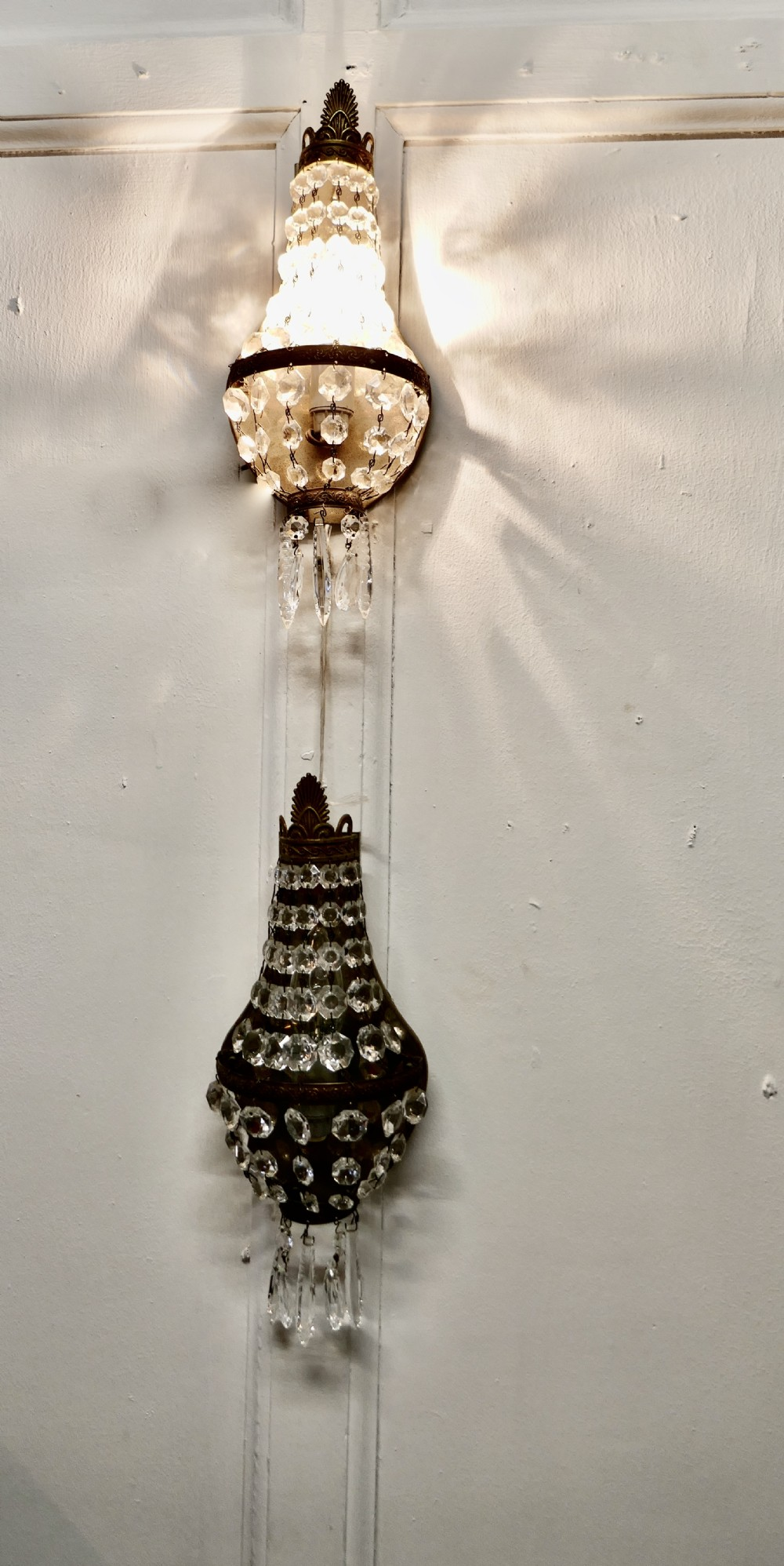 pair of french brass and crystal chandelier wall lamps