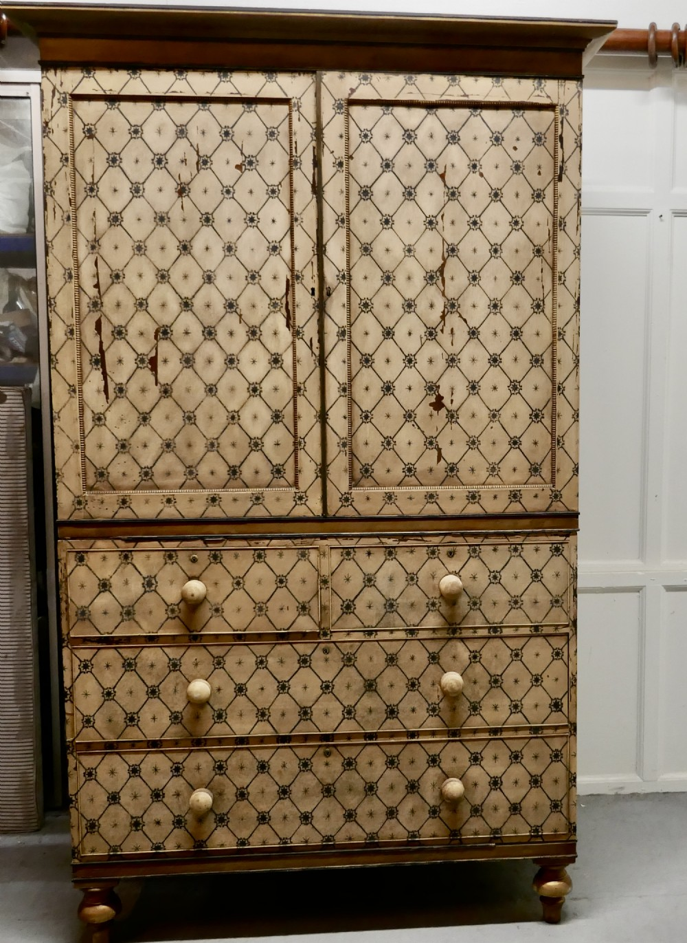 19th century aesthetic movement hand painted linen press