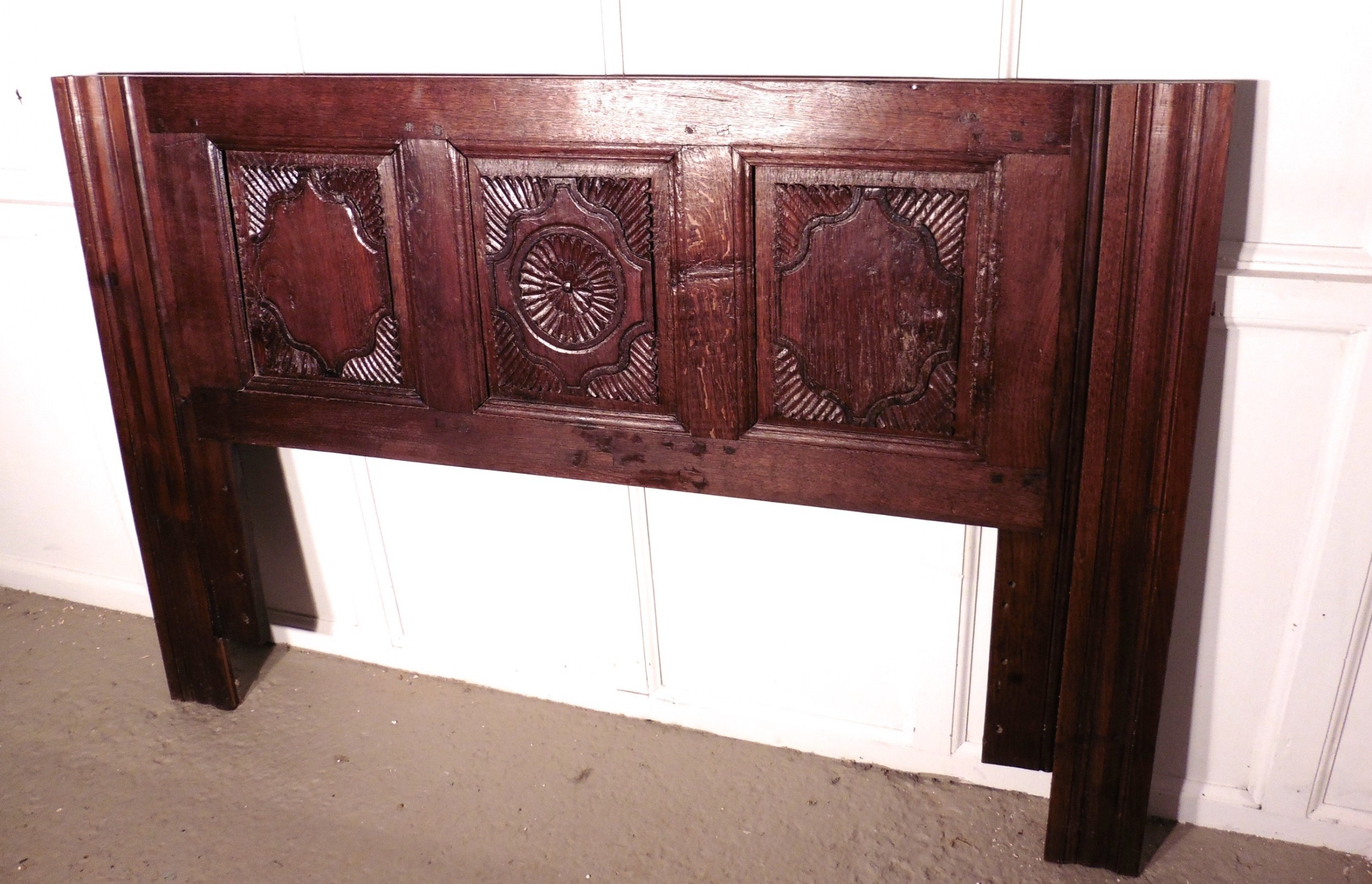 French gothic carved oak bed head board sellingantiques
