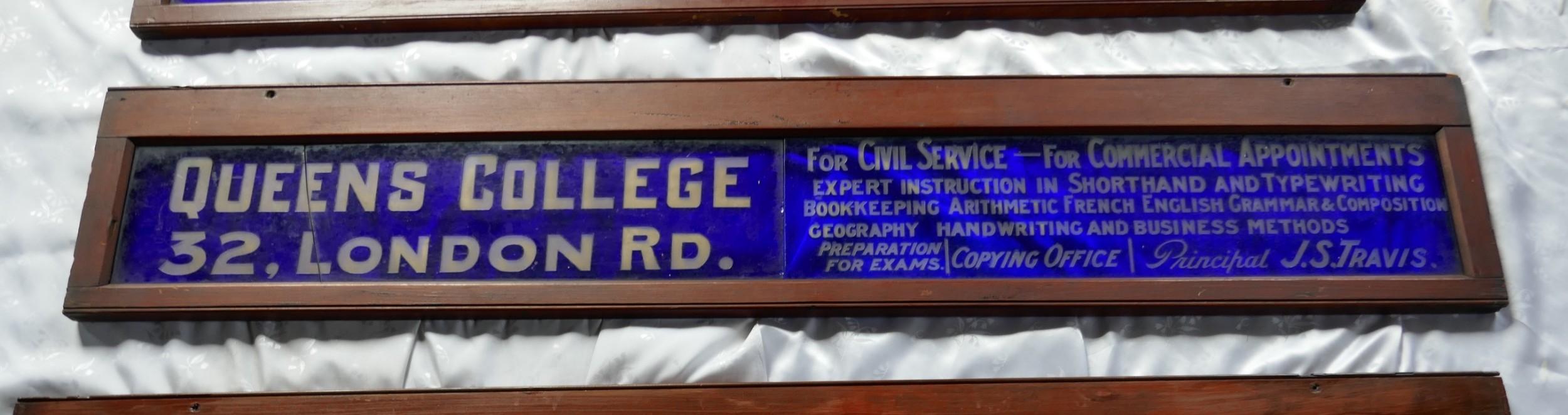 19th century blue glass tram window advertisement