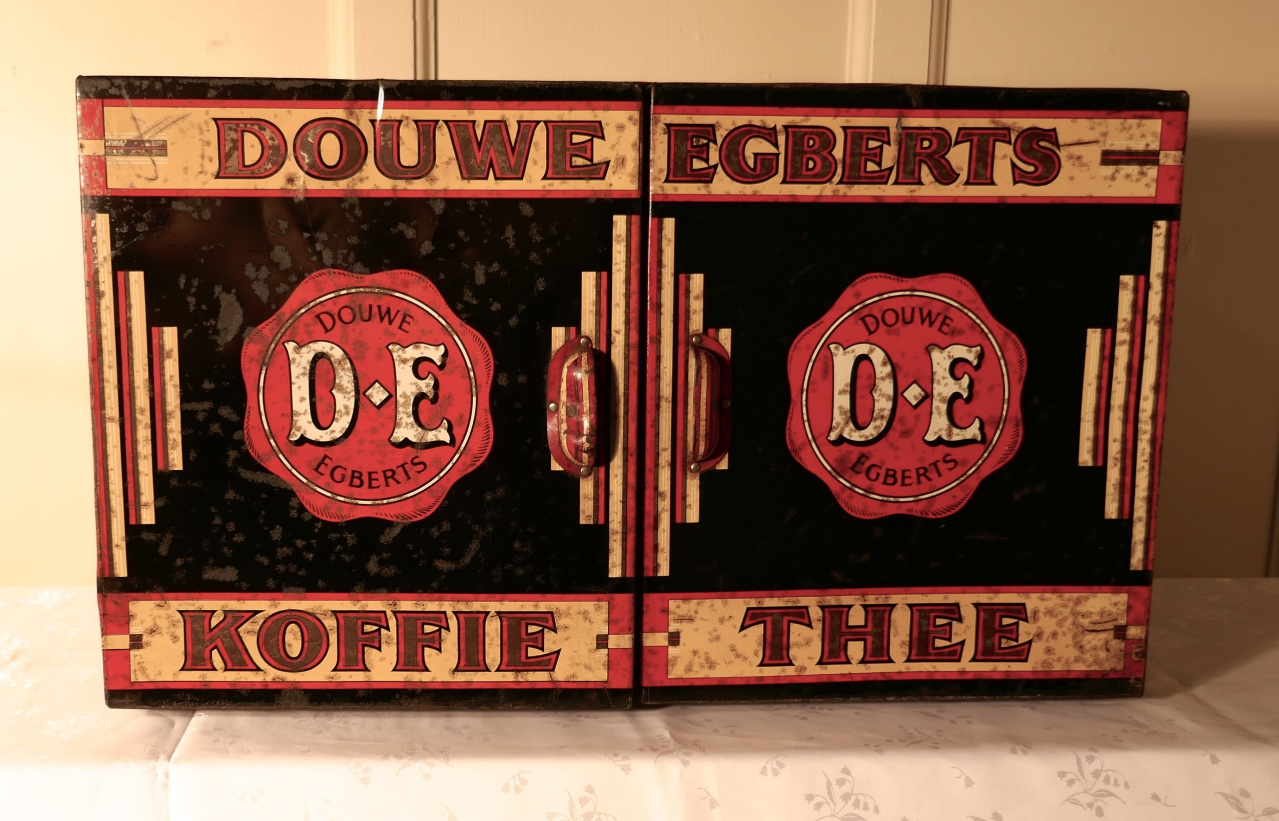 large art deco grocers tolewear double coffee and tea canister