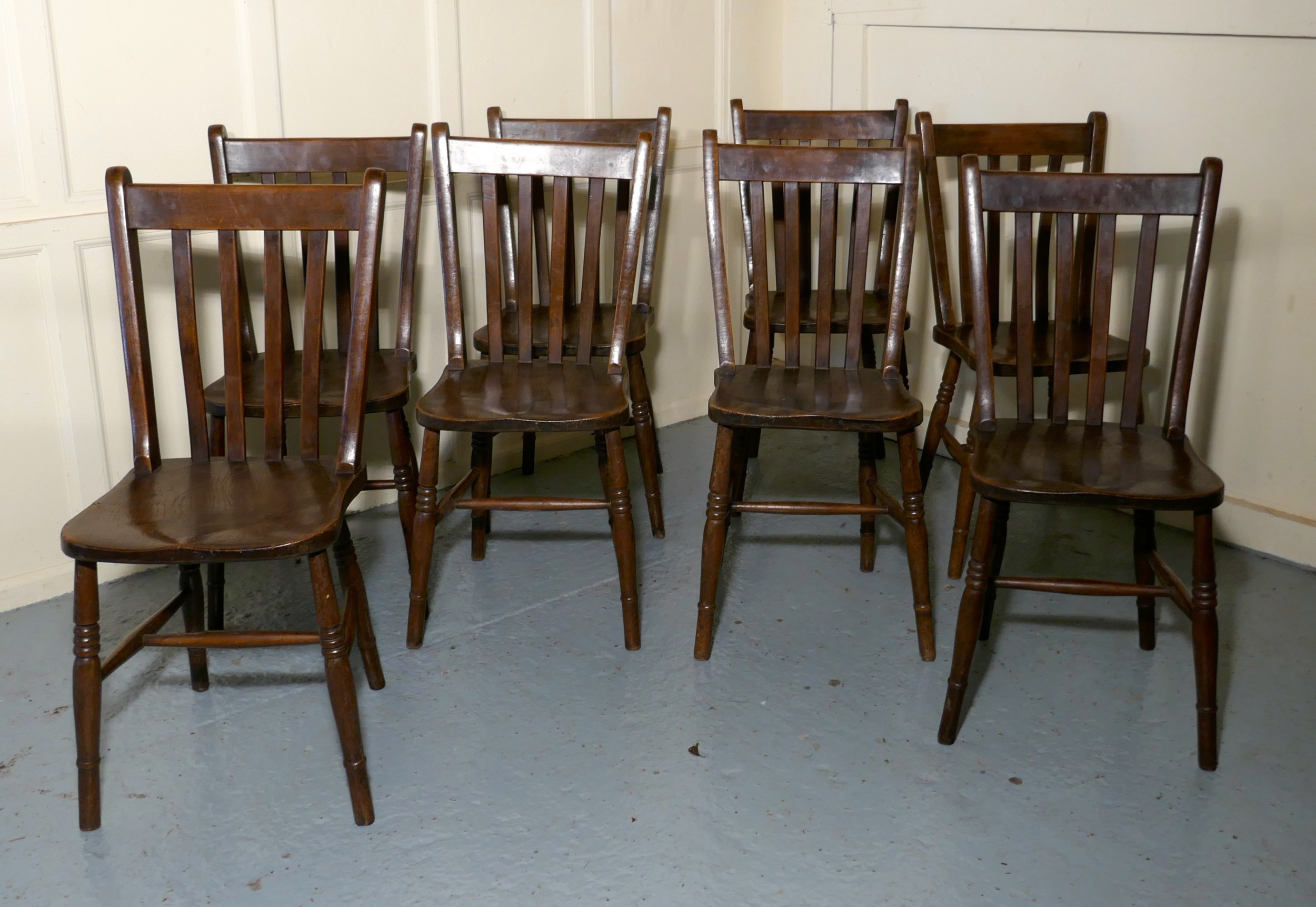 set of 8 19th century traditional slat back farmhouse kitchen chairs