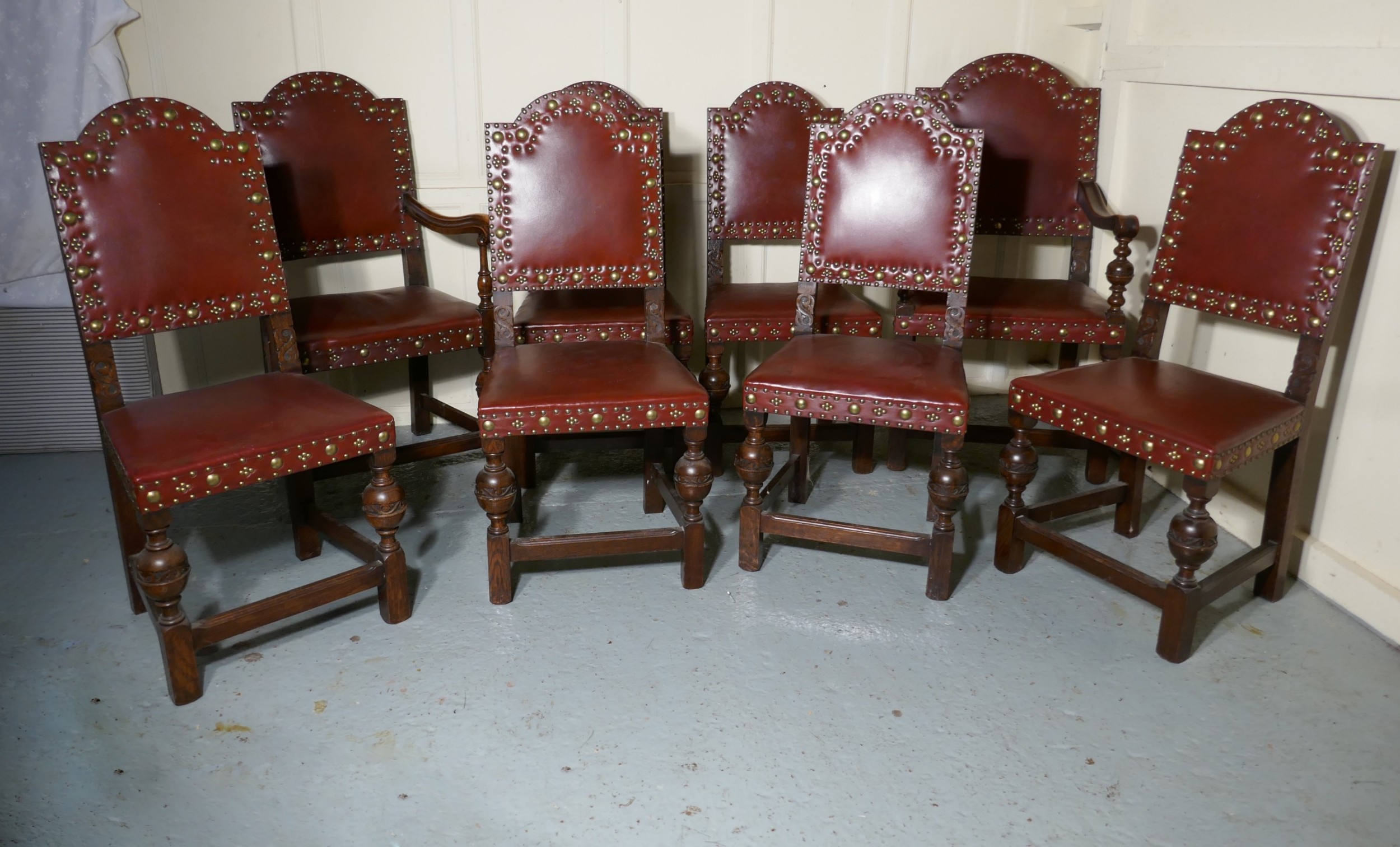 Set 8 Gothic Oak Dining Chairs By Gillow