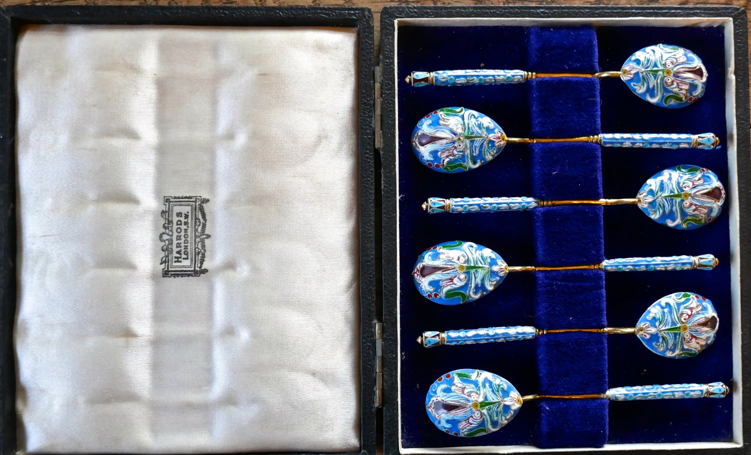 a good set of 6 russian imperial silver pale blue cloisonn enamel spoons