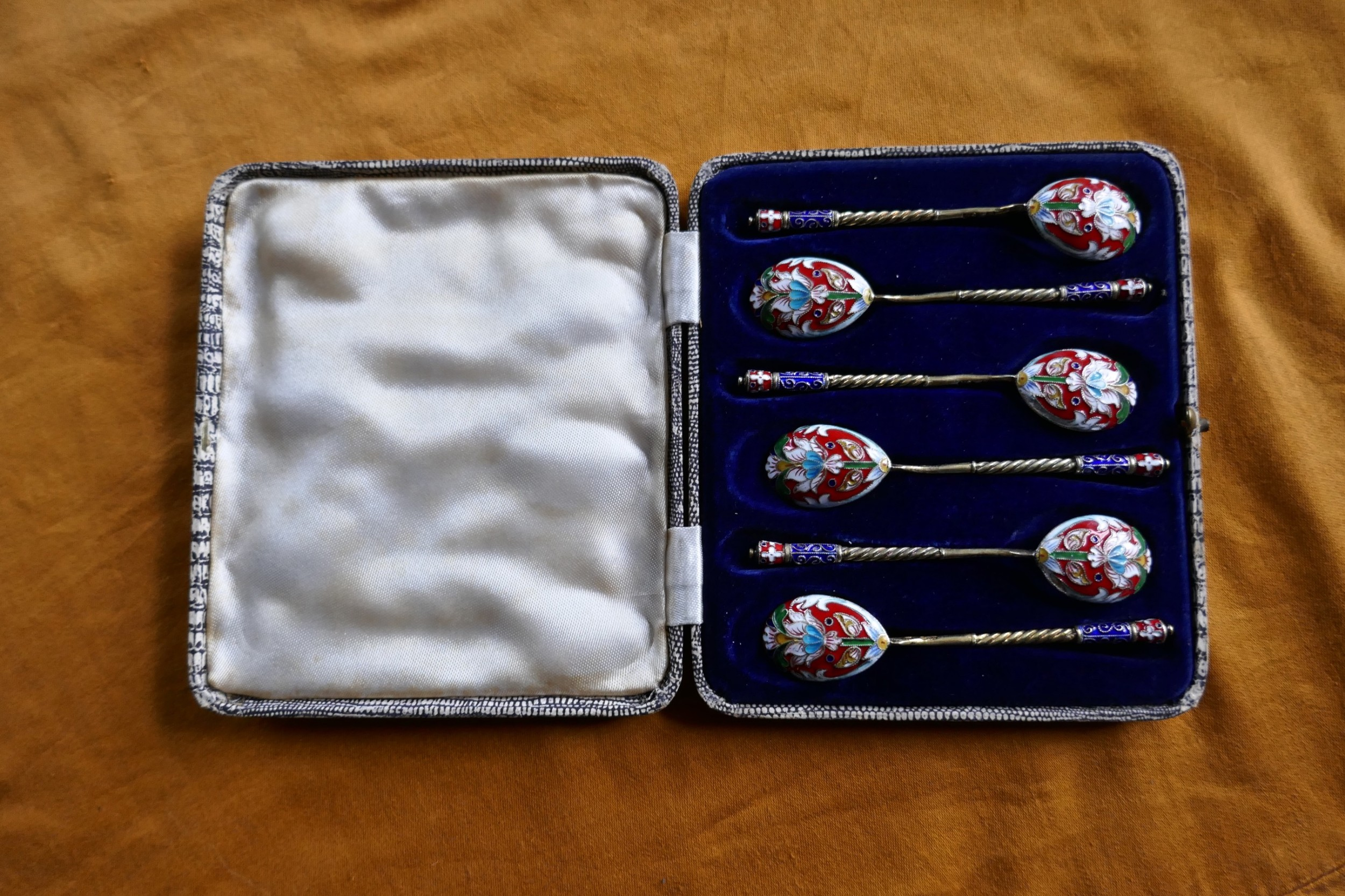 a good set of 6 russian imperial silver polychrome cloisonn enamel spoons