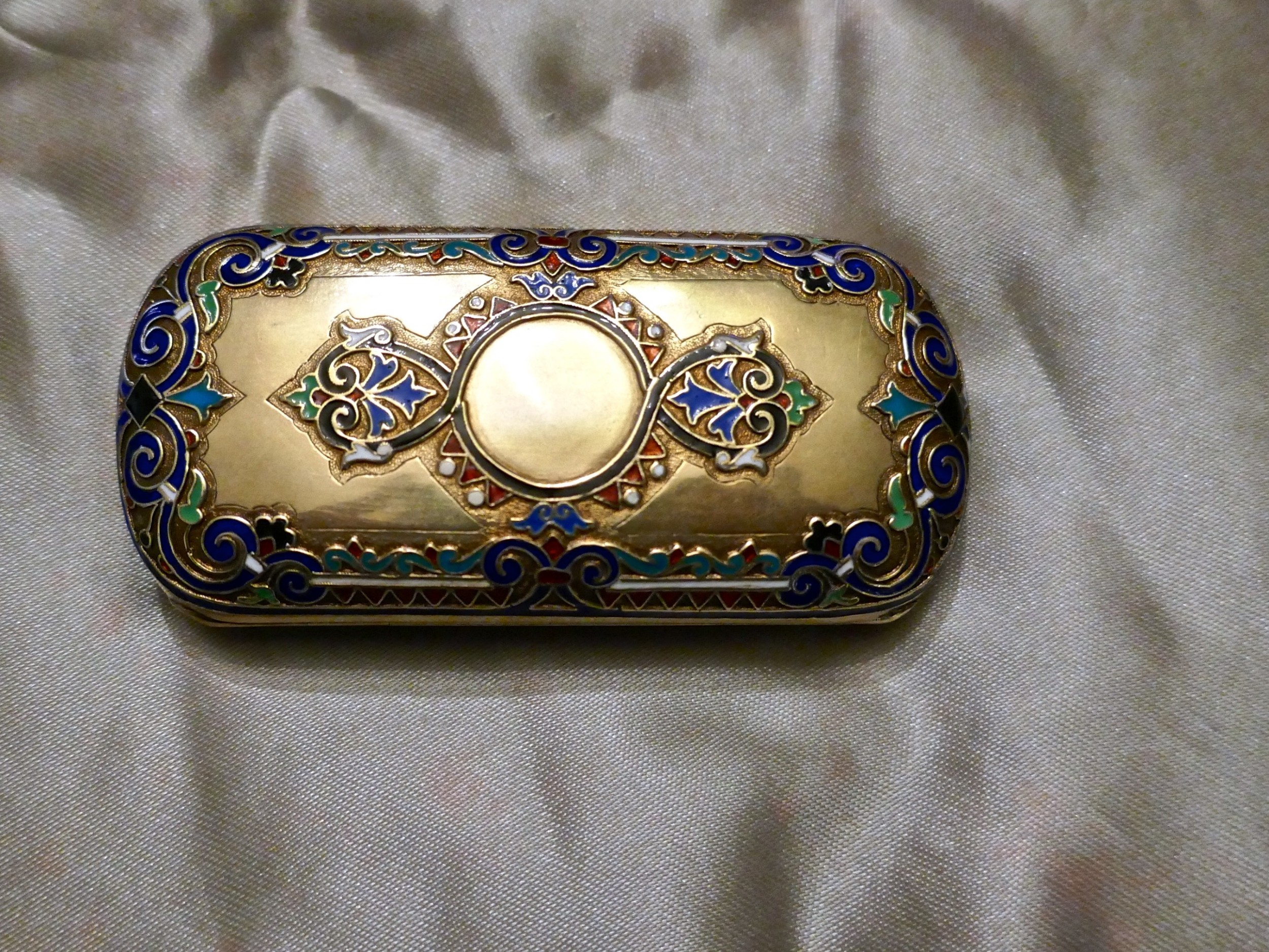 early 20th century russian silver gilt cloisonn case