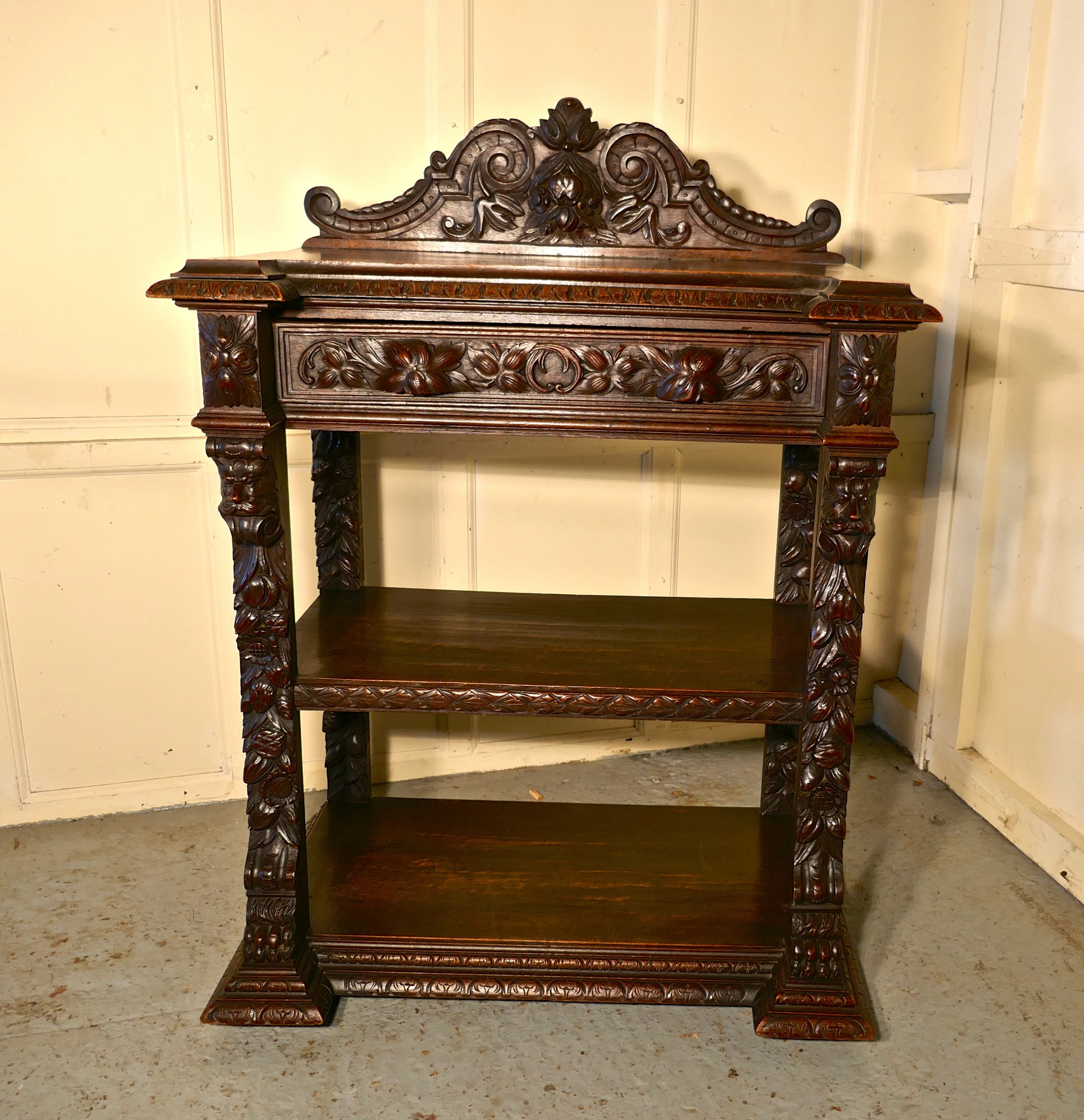 small gothic victorian carved oak green man buffet