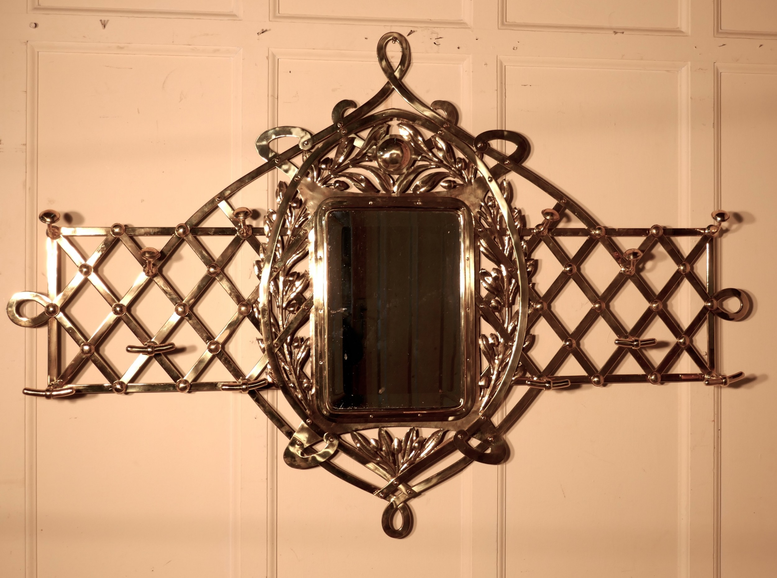 large arts and crafts brass hall mirror wall hanging coat and hat