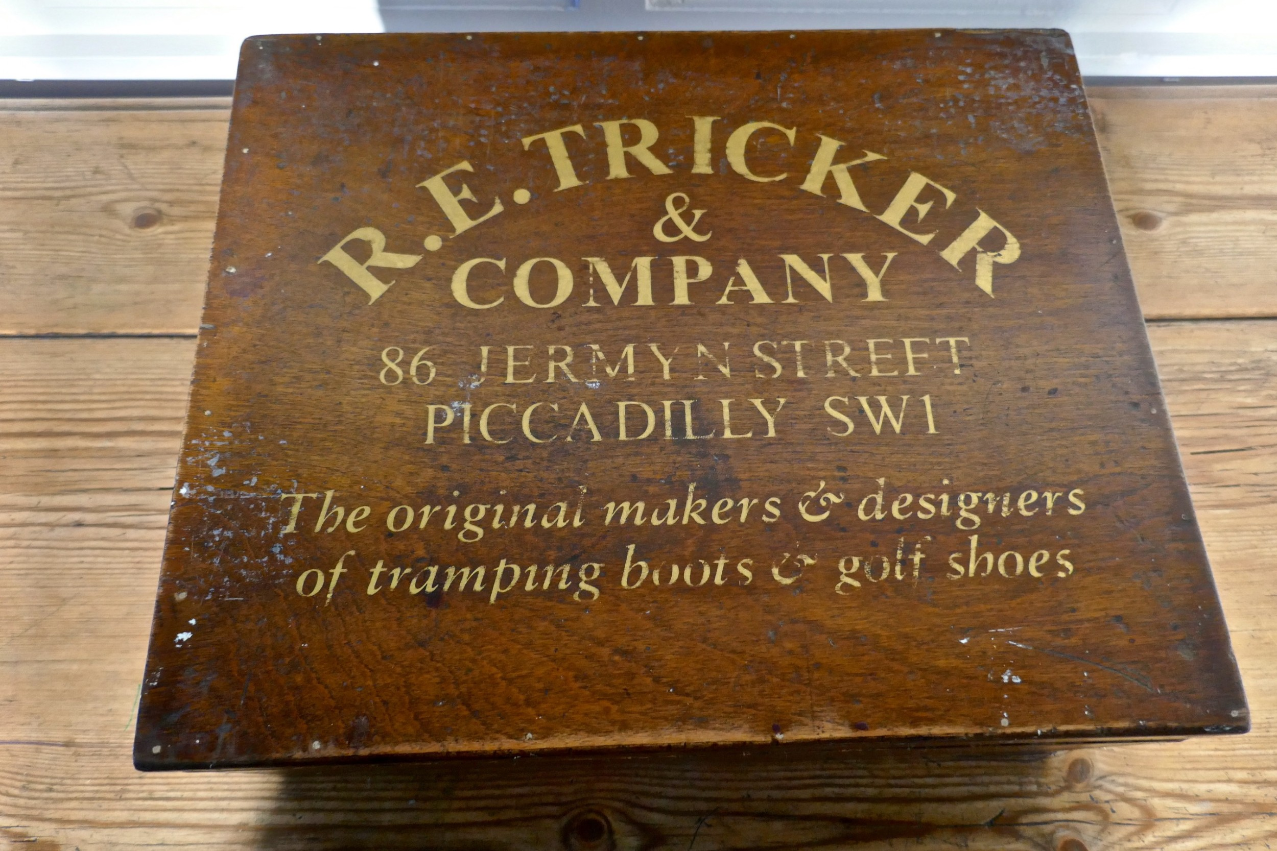 a wooden shoe box from trickers of northampton and london
