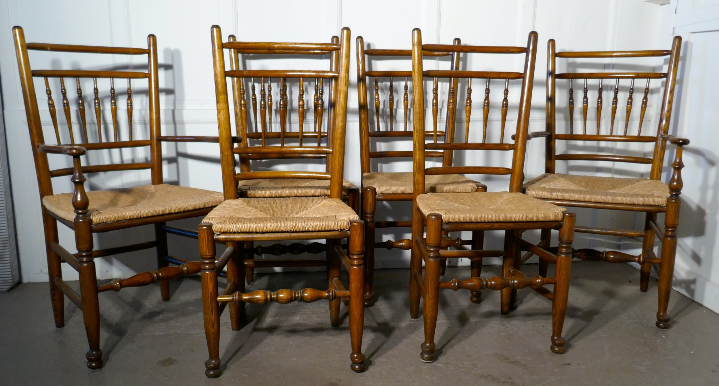 a set of 6 ash spindle back country dining chairs