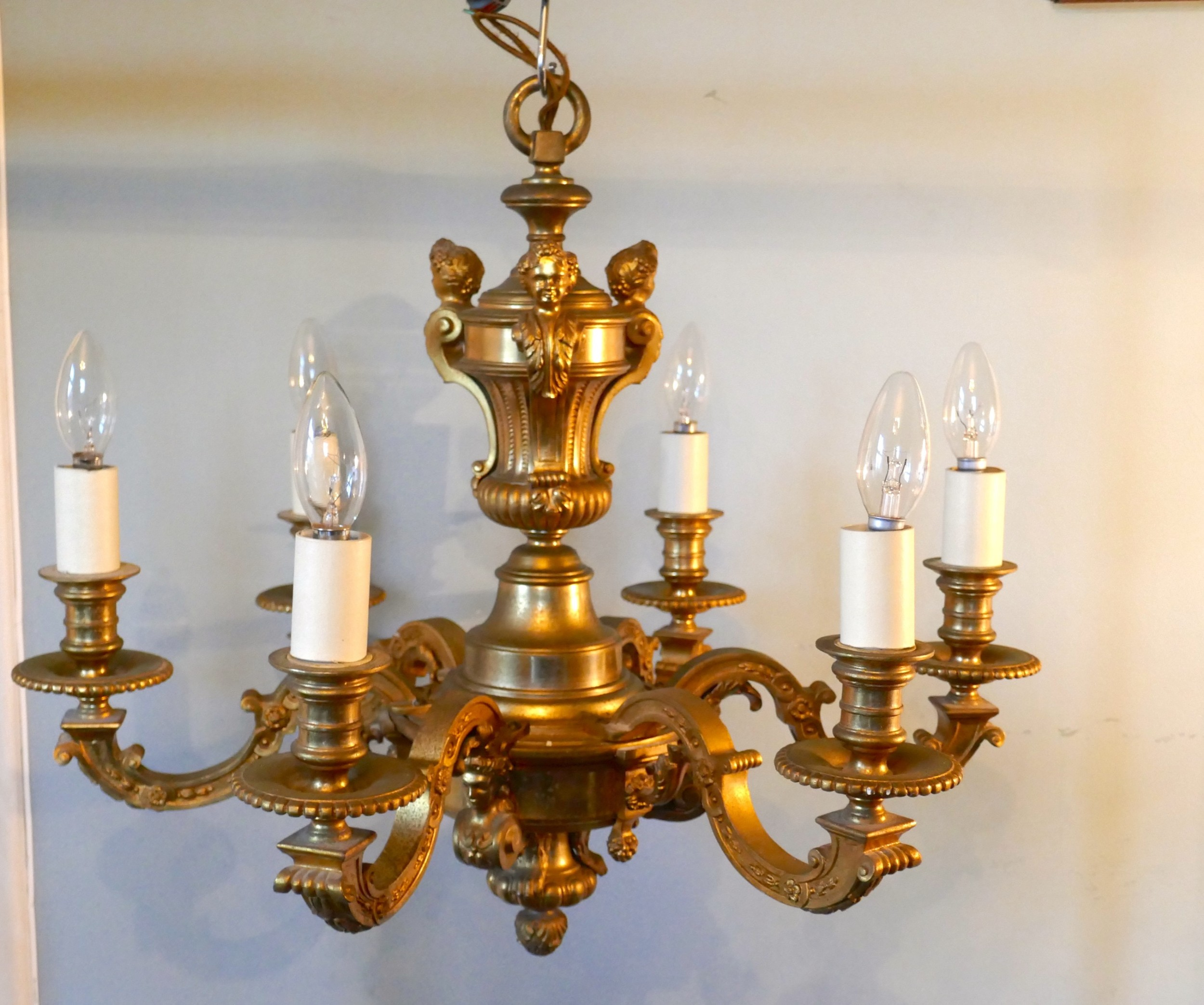 a french gilded brass 6 branch rococo chandelier