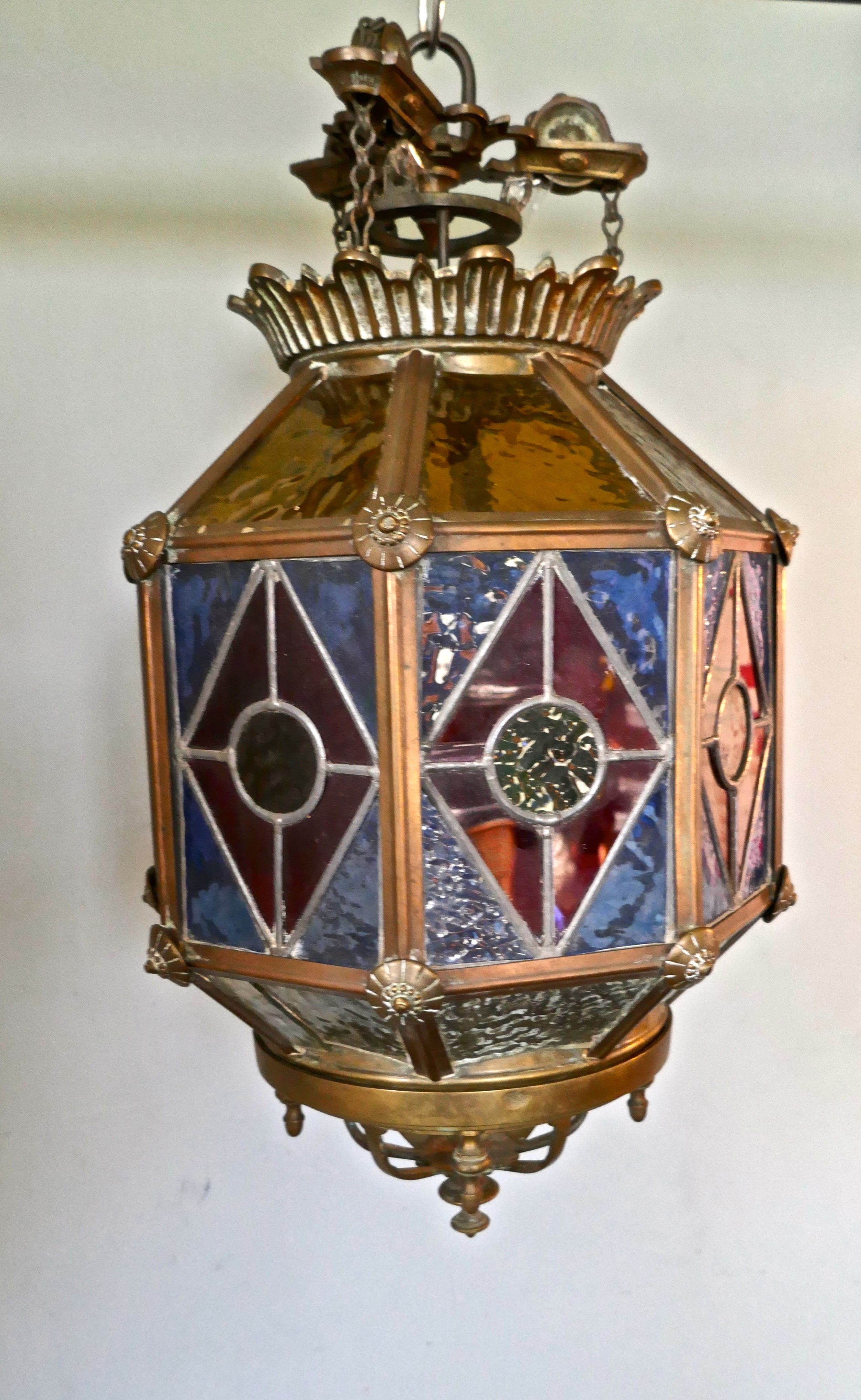 19th century stained glass and brass hall lantern lamp shade