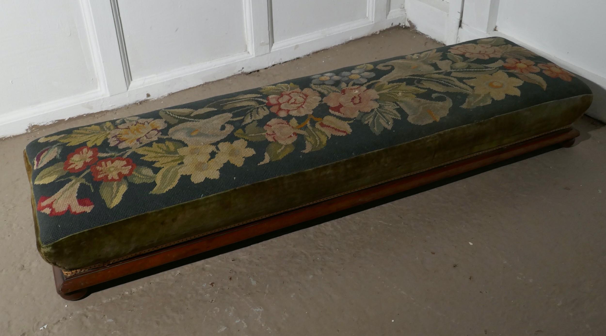 victorian petit point tapestry upholstered mahogany foot stool